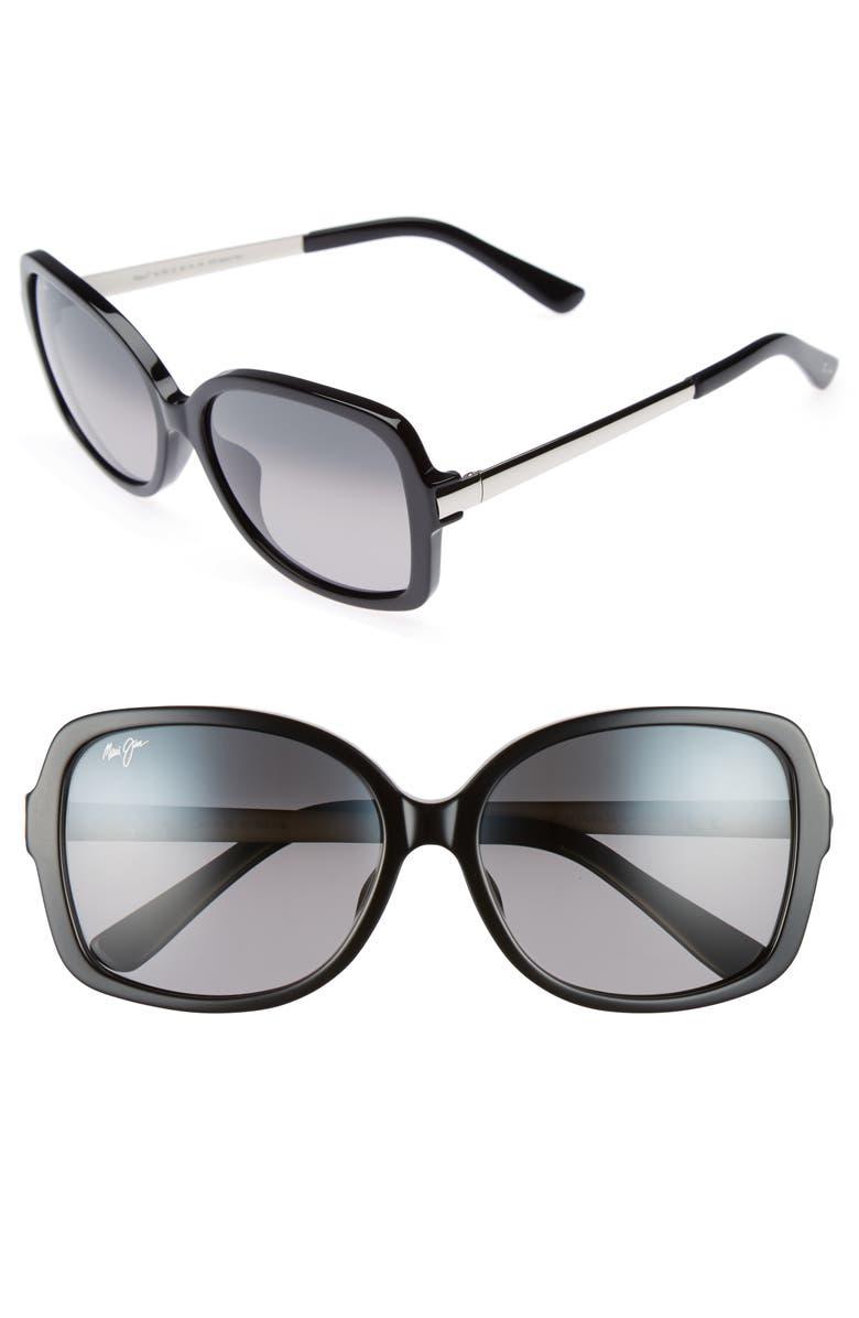 MAUI JIM Melika 58mm PolarizedPlus2<sup>®</sup> Square Sunglasses, Main, color, 001
