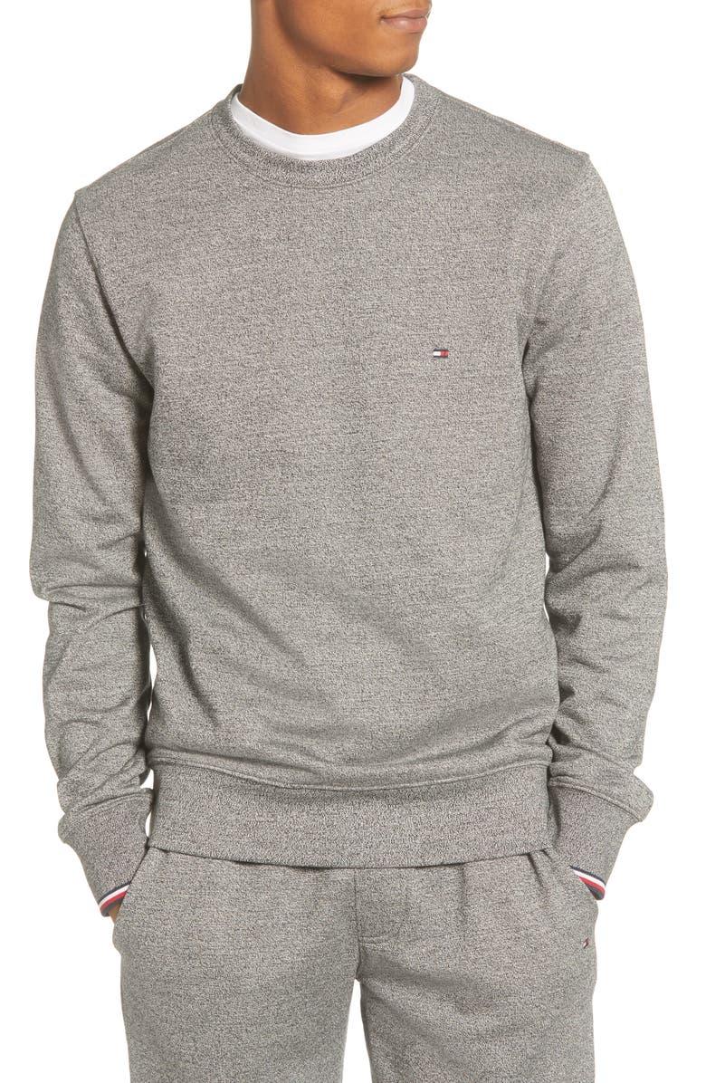 TOMMY HILFIGER Mouline Crewneck Sweatshirt, Main, color, GREY