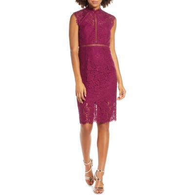 Bardot Lace Sheath Dress, Purple