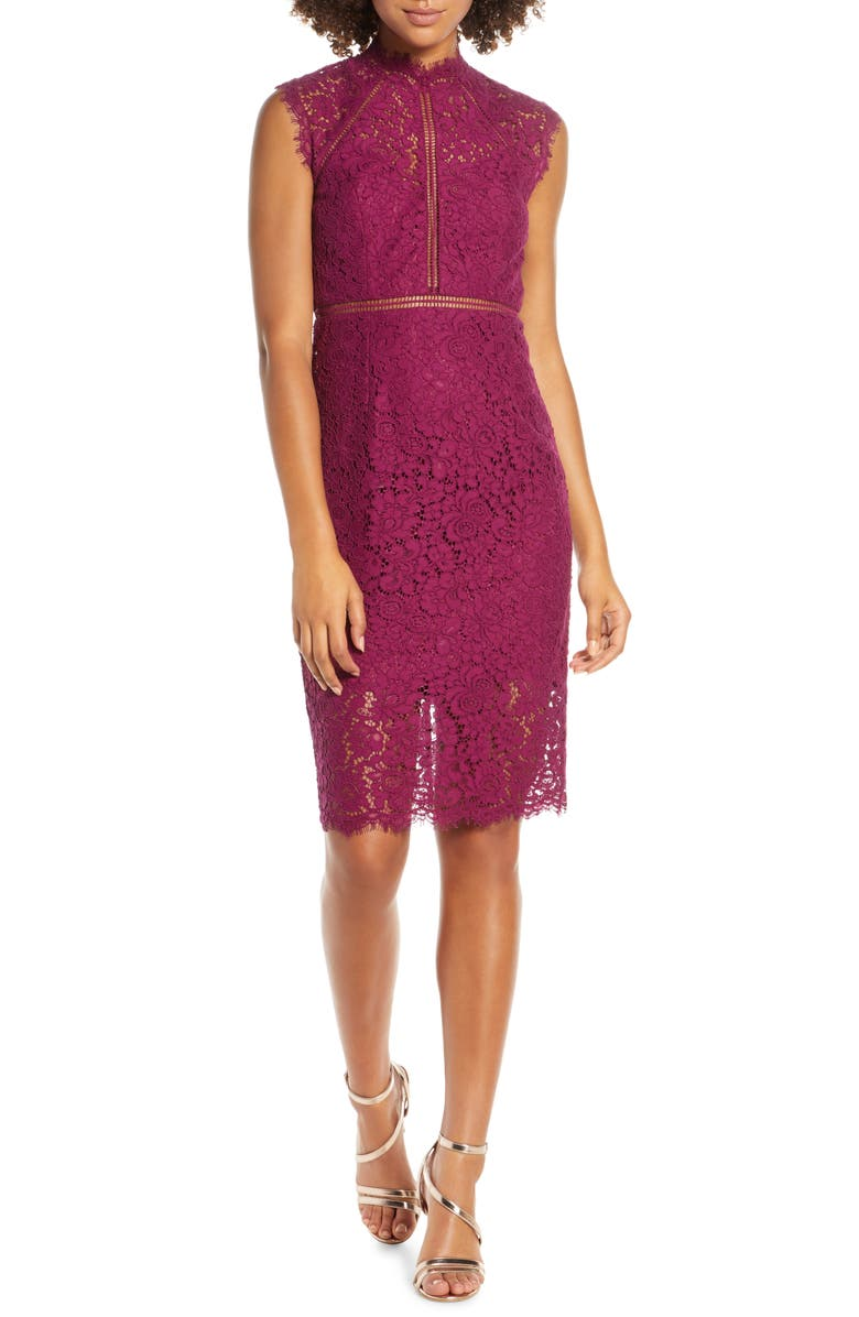 BARDOT Lace Sheath Dress, Main, color, AMETHYST