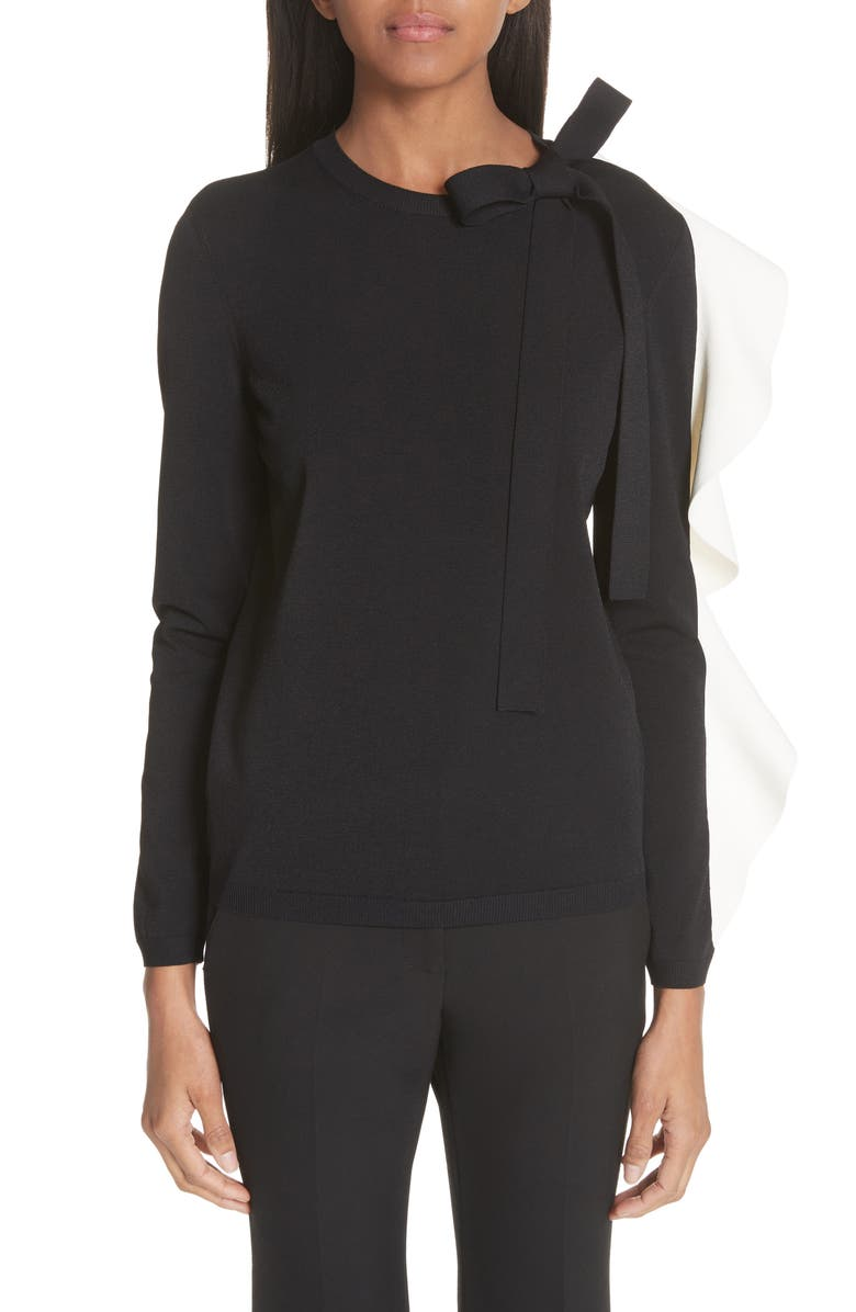 VALENTINO Bow & Contrast Ruffle Knit Top, Main, color, 003