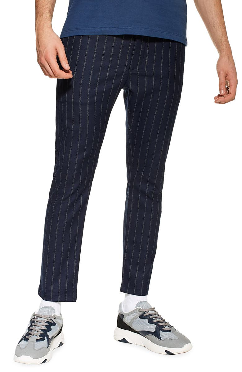 TOPMAN Skinny Fit Stripe Crop Dress Pants, Main, color, NAVY BLUE