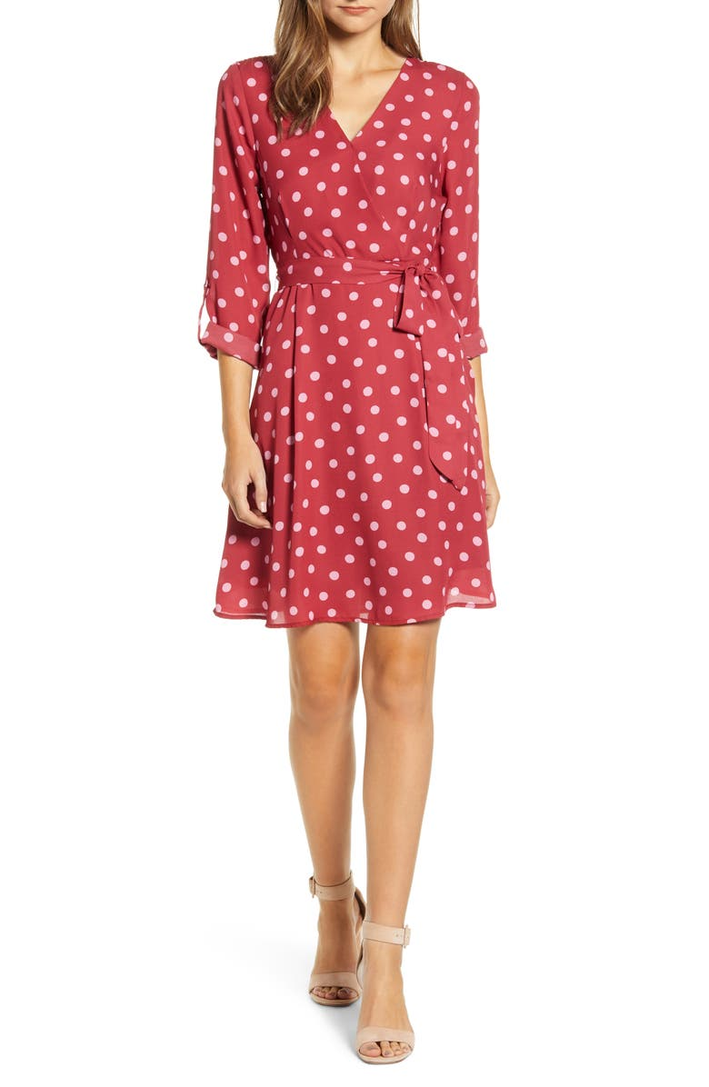 BOBEAU Print Long Sleeve Roll-Tab Faux Wrap Dress, Main, color, BERRY RED DOT