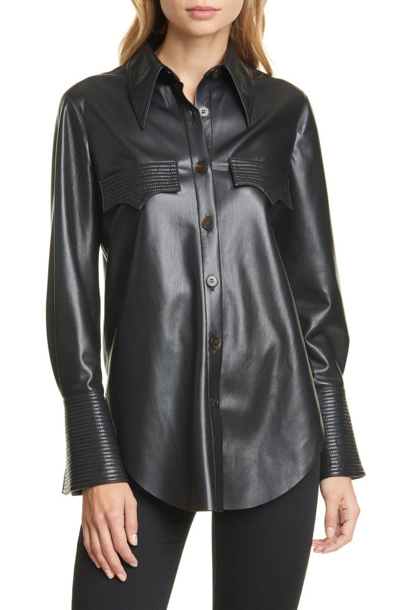 NANUSHKA Elpi Vegan Leather Shirt, Main, color, BLACK