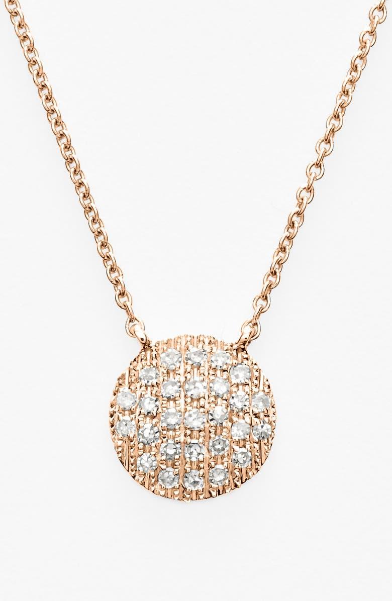 DANA REBECCA DESIGNS 'Lauren Joy' Diamond Disc Pendant Necklace, Main, color, ROSE GOLD