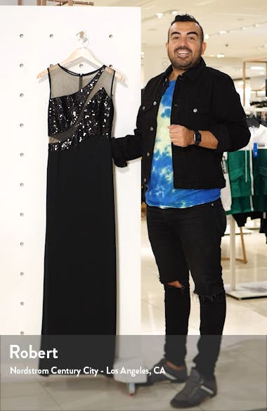 Sequin Mesh Cutout Gown, sales video thumbnail