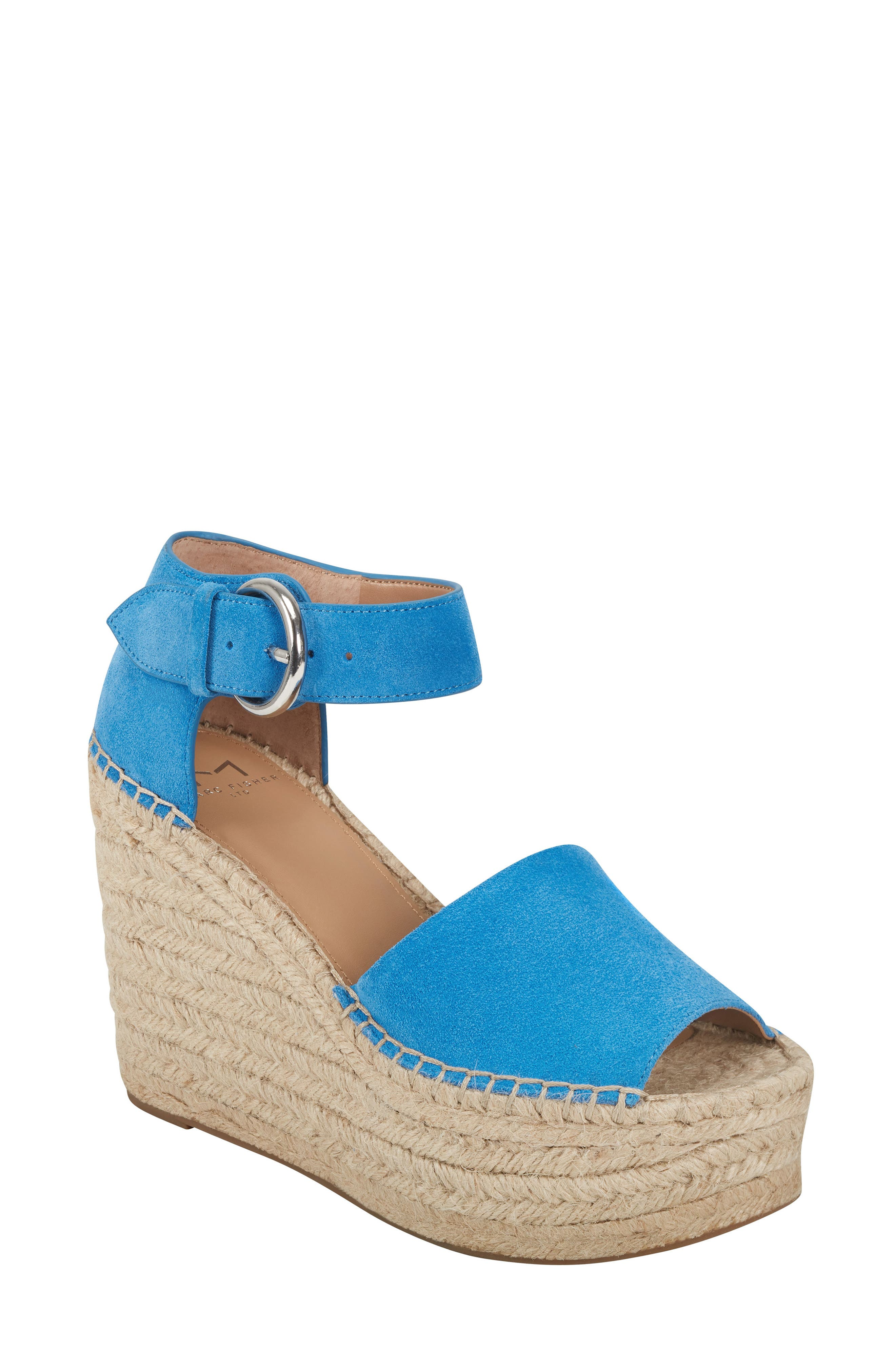 Layers of artfully-braided jute wrap around the signature platform wedge of an eye-catching ankle-strap sandal in buttery soft suede. Style Name: Marc Fisher Ltd Alida Espadrille Platform Wedge (Women). Style Number: 5464553 6. Available in stores.