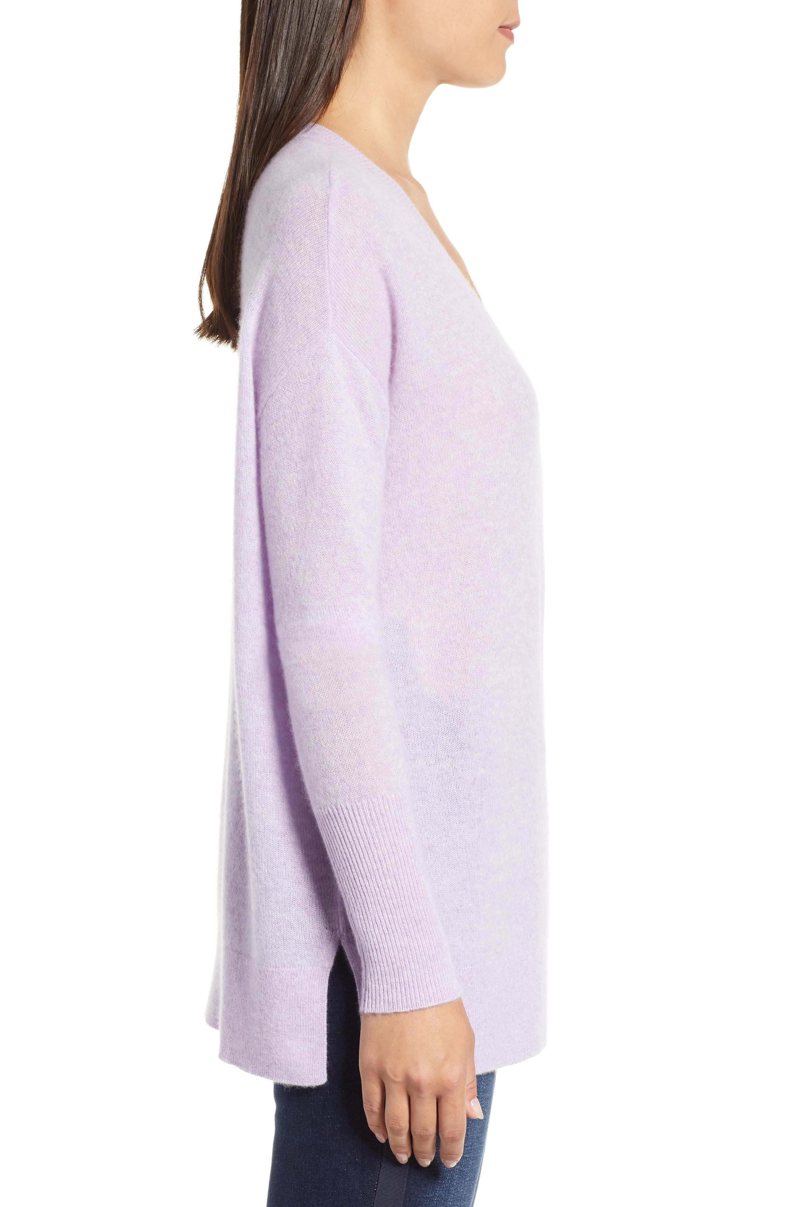 ,                             Relaxed V-Neck Cashmere Sweater,                             Alternate thumbnail 3, color,                             530