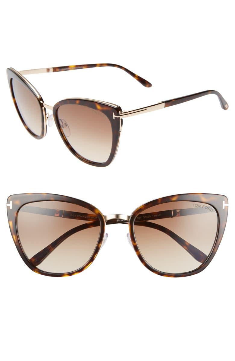 TOM FORD Simona 56mm Sunglasses, Main, color, DARK HAVANA/ ROSE GOLD/ BROWN