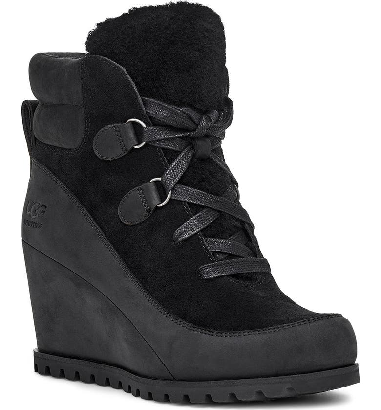 UGG<SUP>®</SUP> Valory Waterproof Insulated Wedge Boot, Main, color, BLACK SUEDE