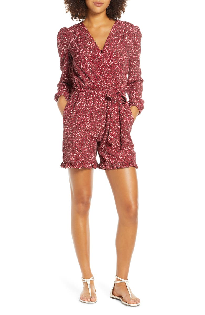FRAICHE BY J Taylor Tie Waist Long Sleeve Romper, Main, color, TAYLOR