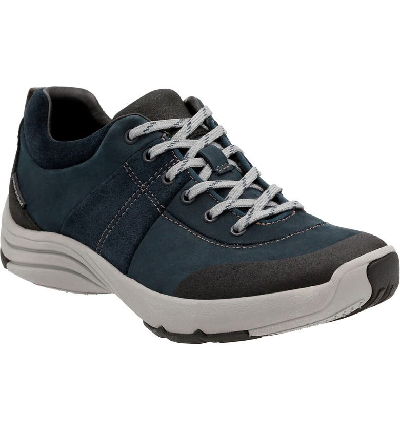 CLARKS<SUP>®</SUP> Wave Andes Sneaker, Main, color, NAVY NUBUCK LEATHER