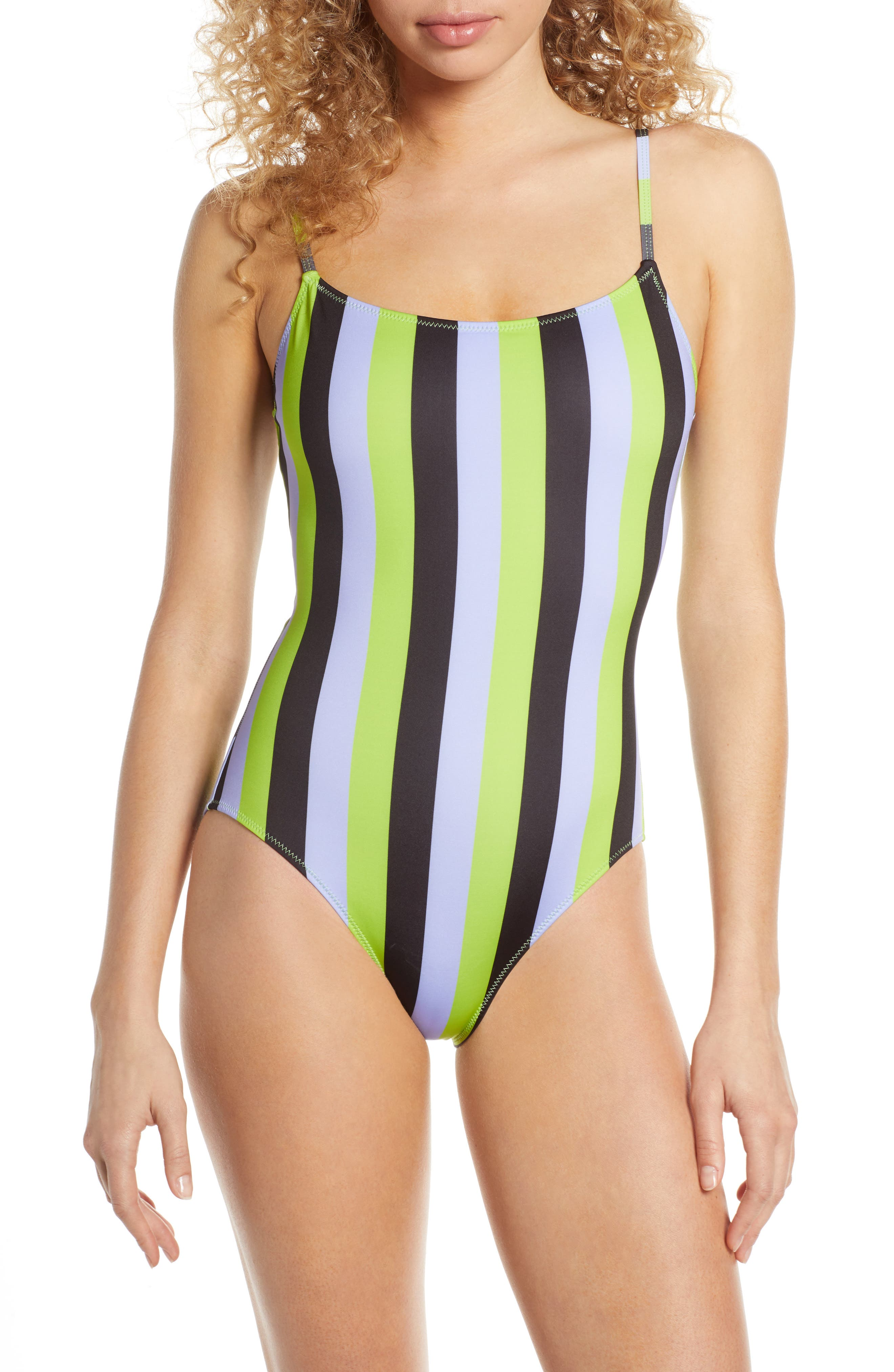 33a09c5e6d124 60s Swimsuits, 70s Bathing Suits | Retro Swimwear Womens Solid Striped The  Nina One-