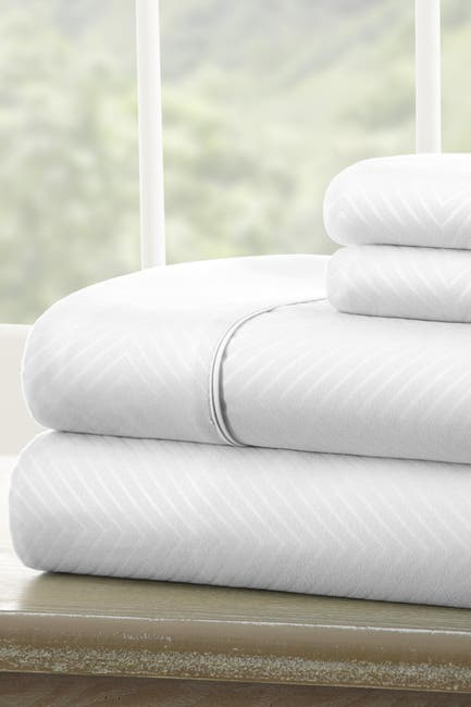Image of IENJOY HOME Hotel Collection Premium Ultra Soft 4-Piece Chevron Queen Bed Sheet Set -White