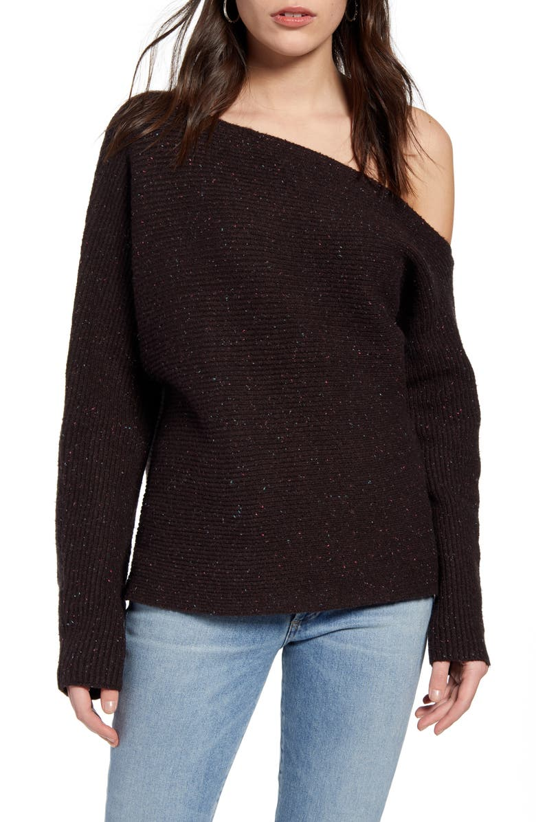 TREASURE & BOND Ribbed One-Shoulder Pullover, Main, color, 210
