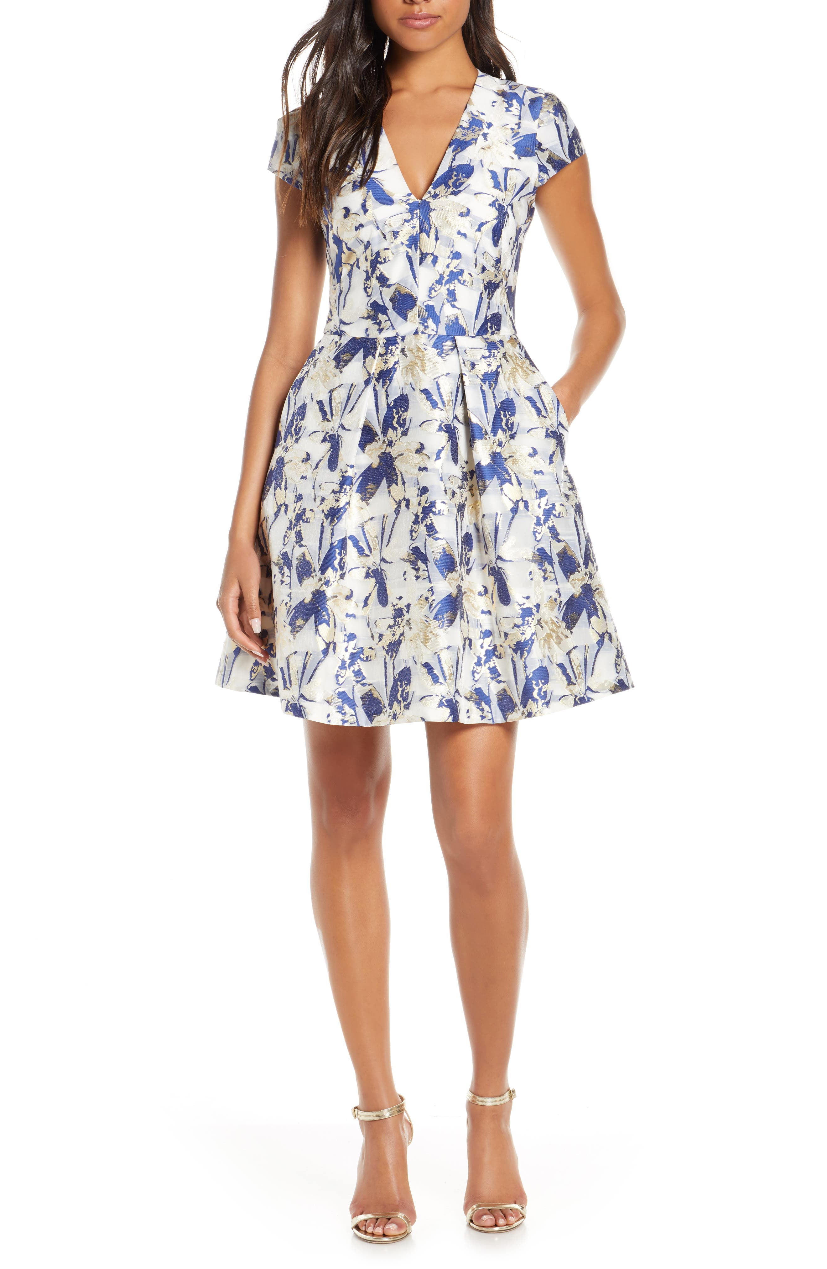 Petite Vince Camuto Cap Sleeve Fit & Flare Dress, Blue