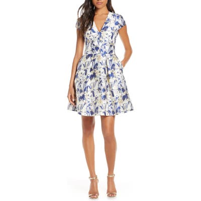 Vince Camuto Cap Sleeve Fit & Flare Dress, Blue