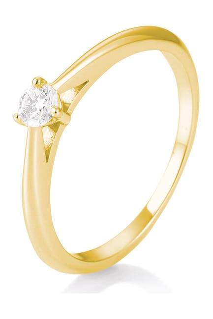 Image of BREUNING 14K Yellow Gold Diamond Solitaire Ring - Size 6.5 - 0.15 ctw