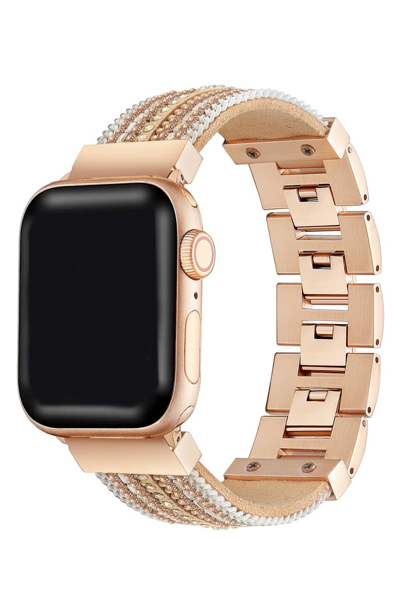 THE POSH TECH Apple Watch<sup>®</sup> Beaded Bracelet, Main, color, GOLD/ROSE GOLD - 42/44MM