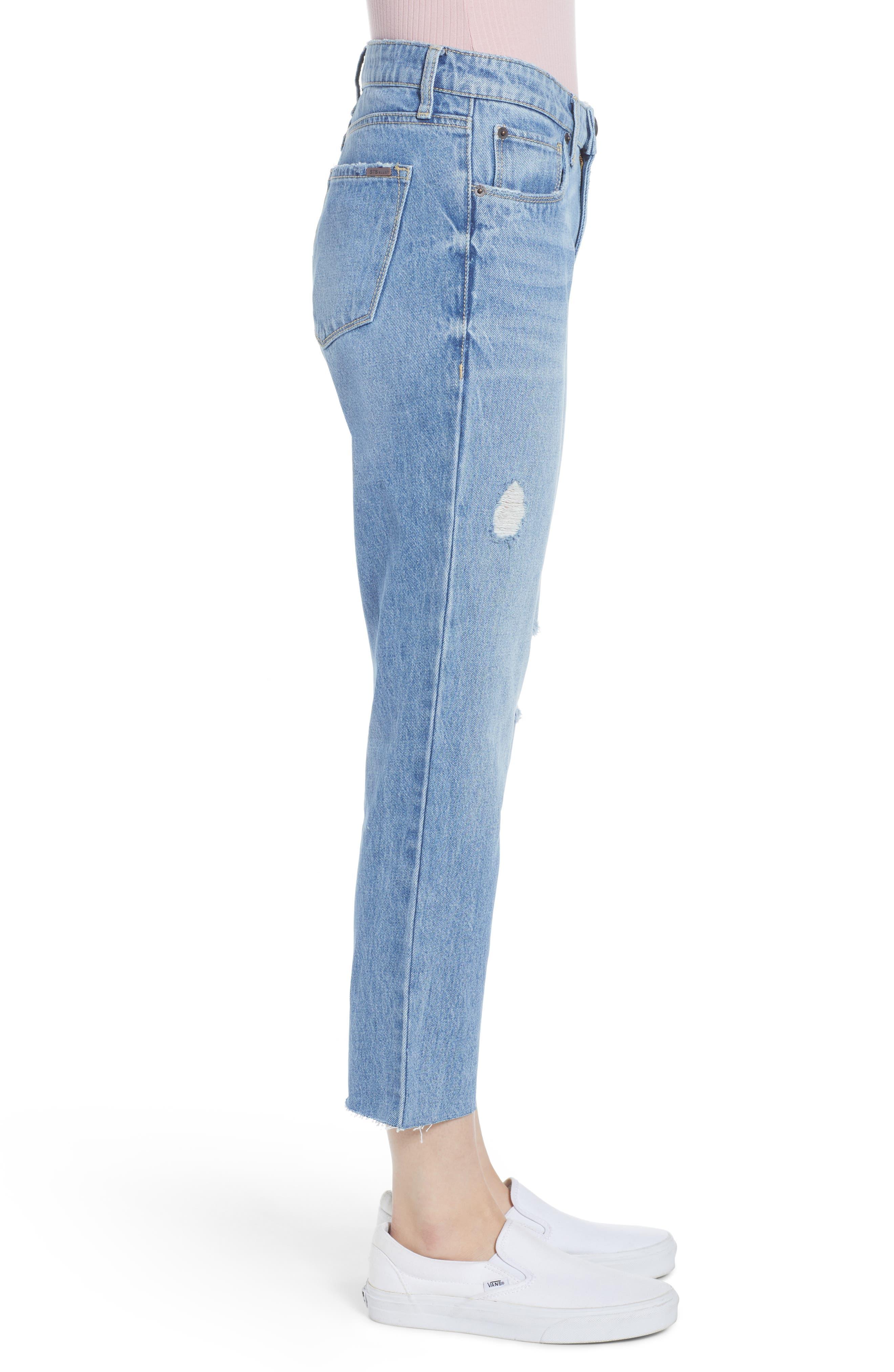 ,                             Cara Ripped Slim Straight Leg Jeans,                             Alternate thumbnail 4, color,                             400