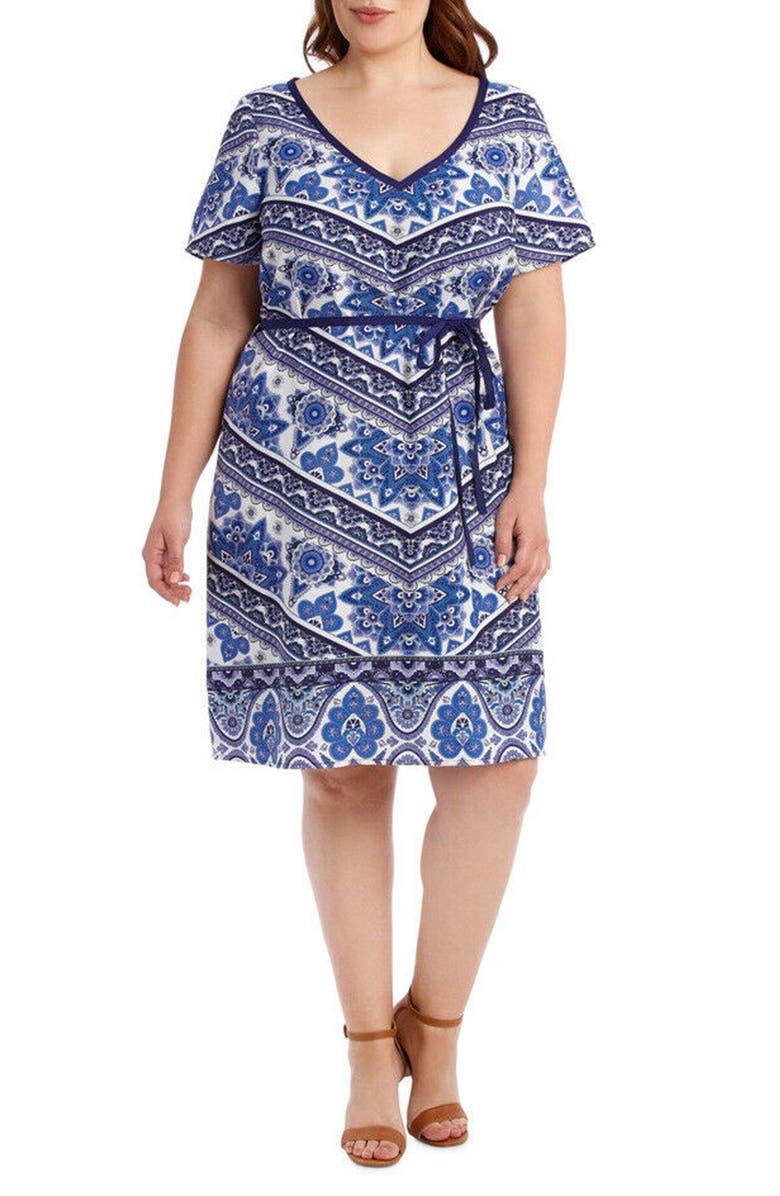 ESTELLE Morocco Short Sleeve Dress, Main, color, 400