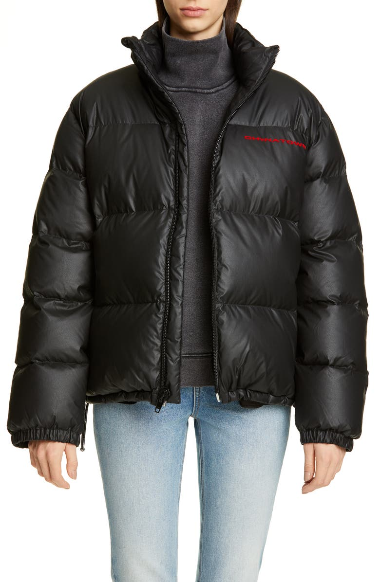 ALEXANDER WANG Chynatown Faux Leather Down Puffer Coat, Main, color, BLACK