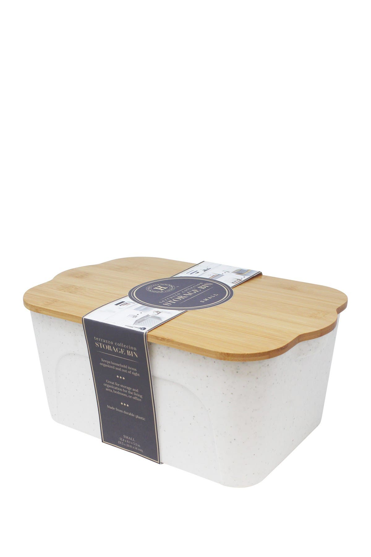 Image of Gourmet Home Heritage White Terrazo Small Bamboo Wood Storage Bin