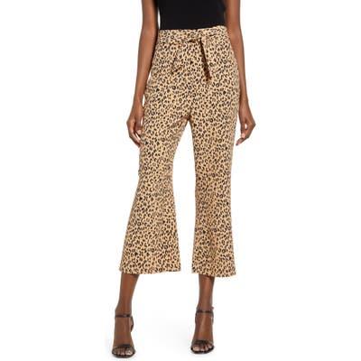 Leith Leopard Print Tie Front Crop Flare Pants, Brown