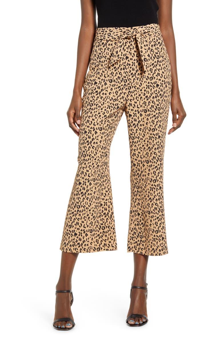 LEITH Leopard Print Tie Front Crop Flare Pants, Main, color, 235