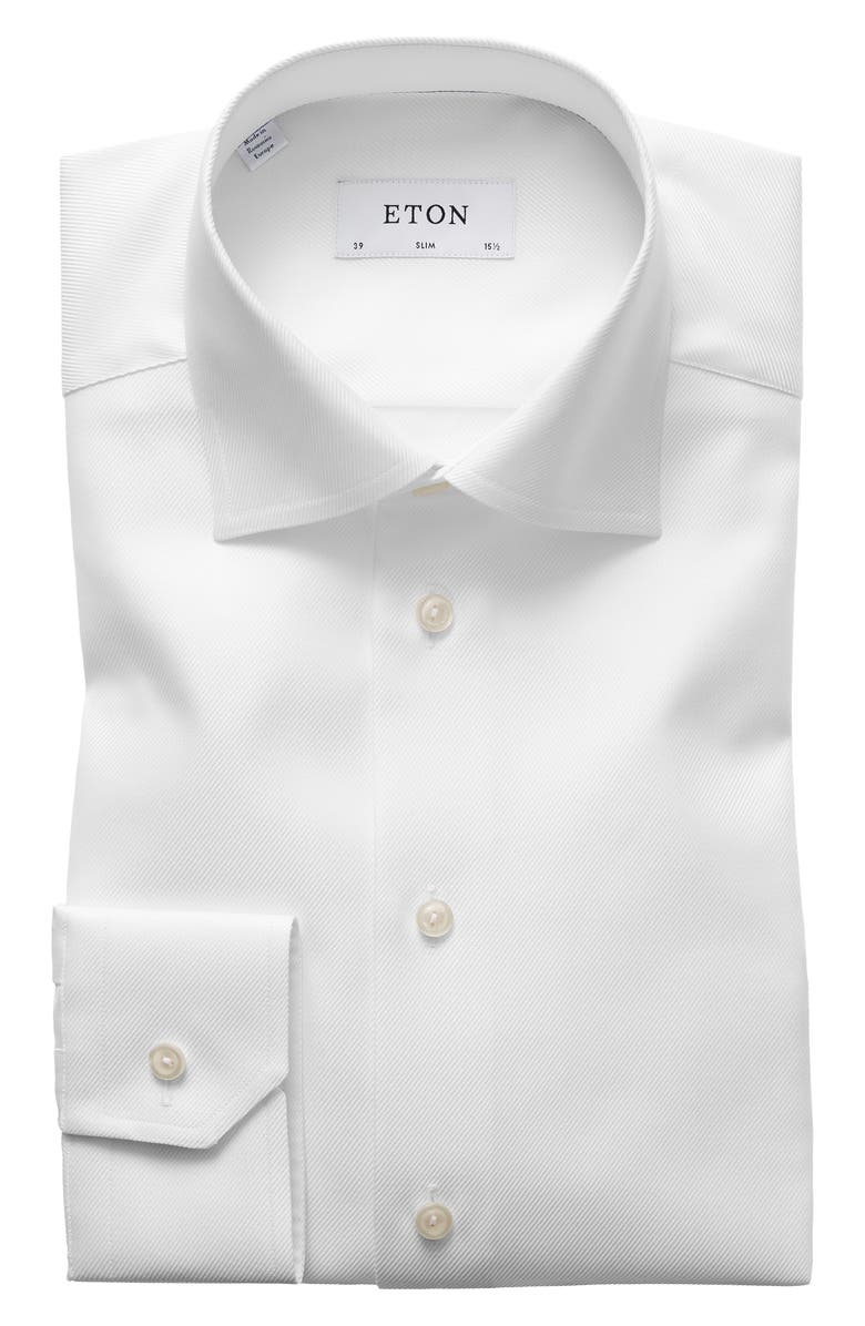 ETON Slim Fit Cavalry Twill Dress Shirt, Main, color, WHITE