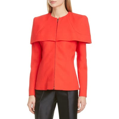 Givenchy Zip Front Wool Crepe Cape Jacket, 6 FR - Red