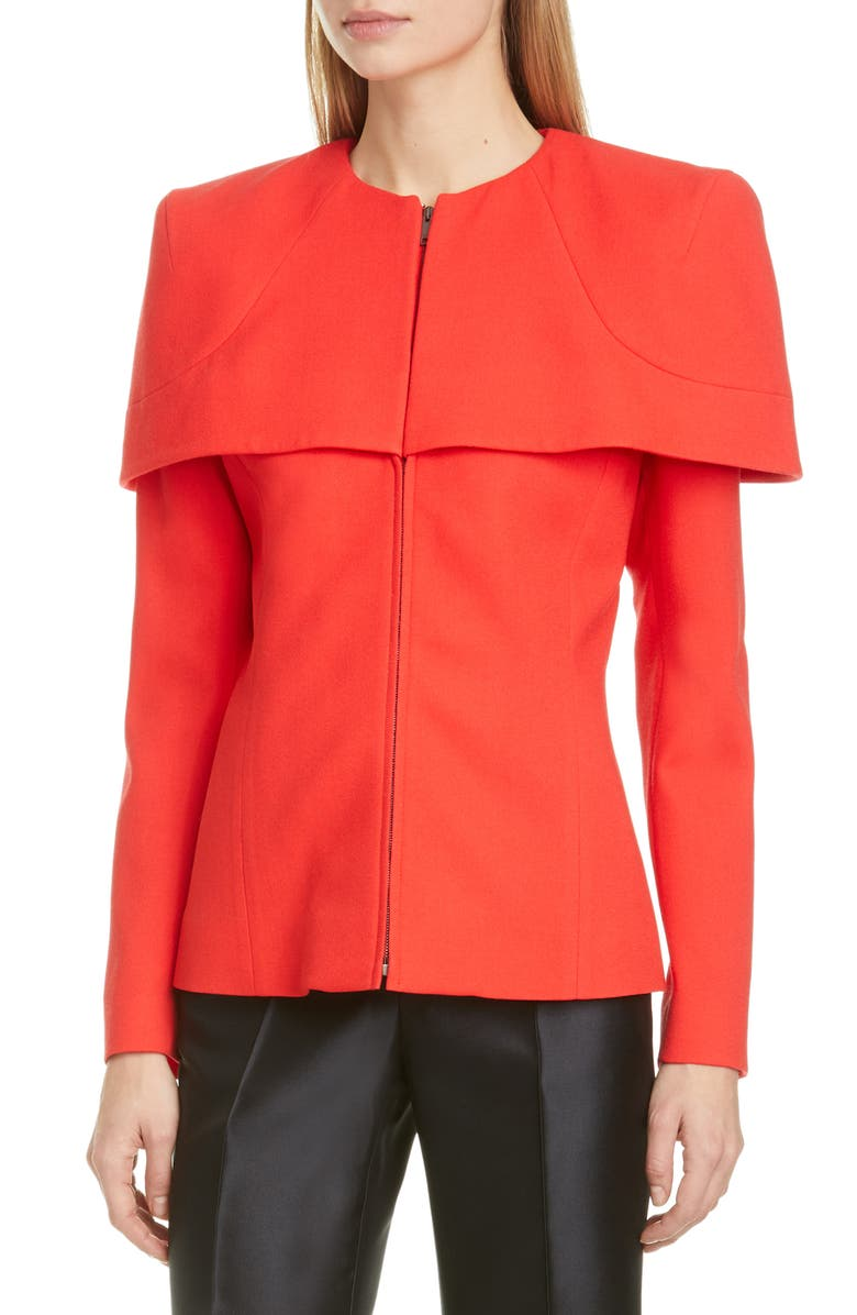GIVENCHY Zip Front Wool Crepe Cape Jacket, Main, color, 600