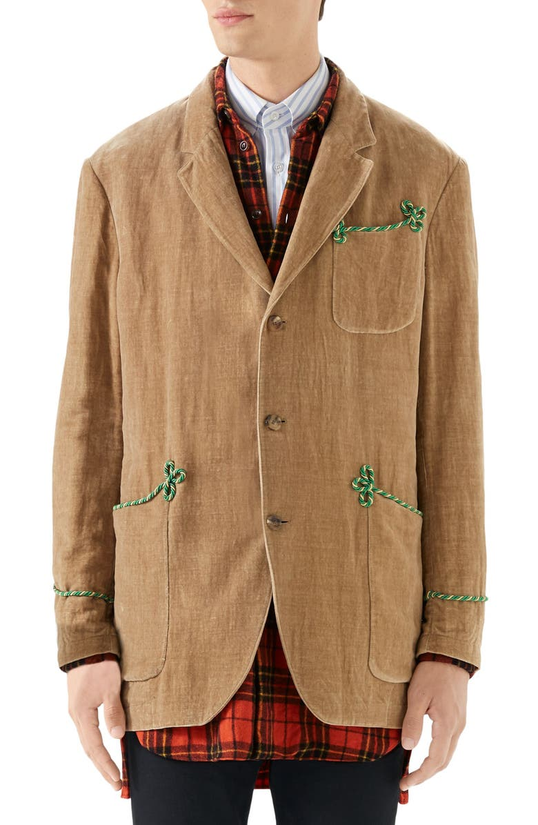 GUCCI Embroidered Velvet Jacket, Main, color, CAMEL