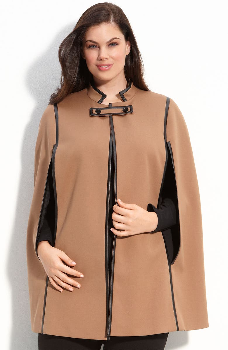 SEJOUR Faux Leather Trim Cape, Main, color, 250