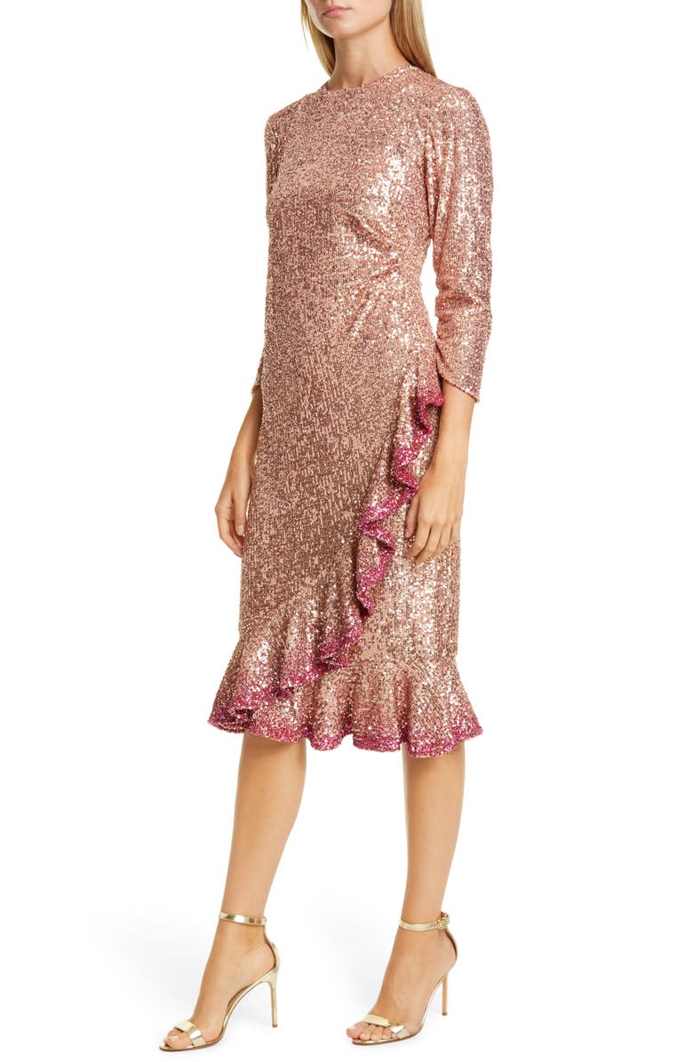 SACHIN & BABI Ruffle Trim Sequin Dress, Main, color, ROSE GOLD