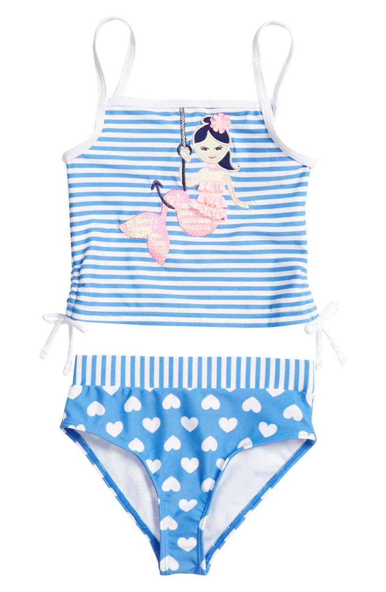 FLAPDOODLES Mermaid Appliqué Two-Piece Swimsuit, Main, color, STRIPE