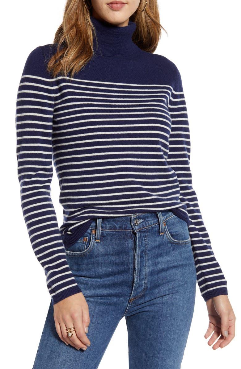 1901 Stripe Wool & Cashmere Turtleneck Sweater, Main, color, NAVY- IVORY STRIPE