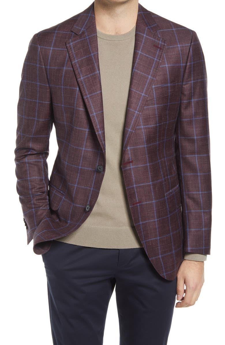 PETER MILLAR Windowpane Slub Wool Blend Sport Coat, Main, color, MAROON