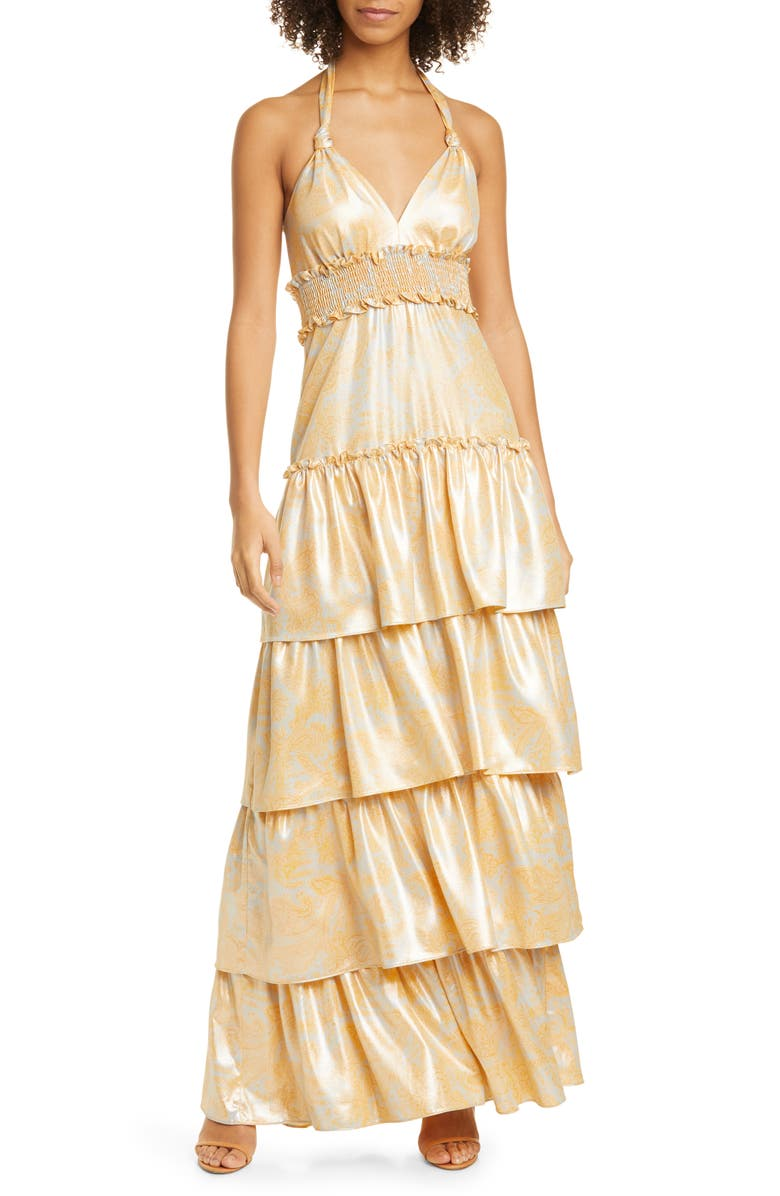 LIKELY Ivy Tiered Satin Maxi Dress, Main, color, SNAPDRAGON