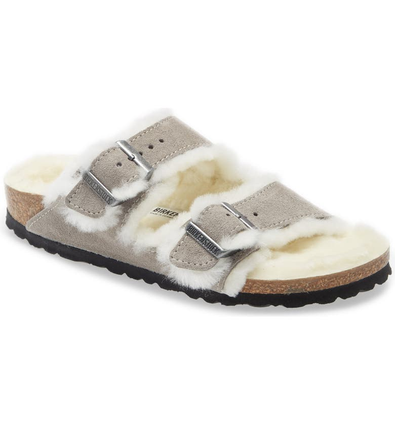 Birkenstock Arizona Genuine Shearling Slide Sandal (Women) | Nordstrom