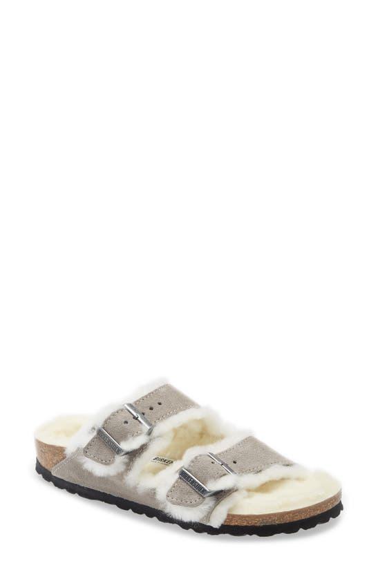 Birkenstock Women's Arizona Shearling Slide Sandals In Lavender Suede