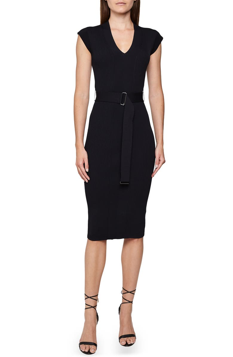 REISS Amelie Belted Cap Sleeve Body-Con Dress, Main, color, NAVY
