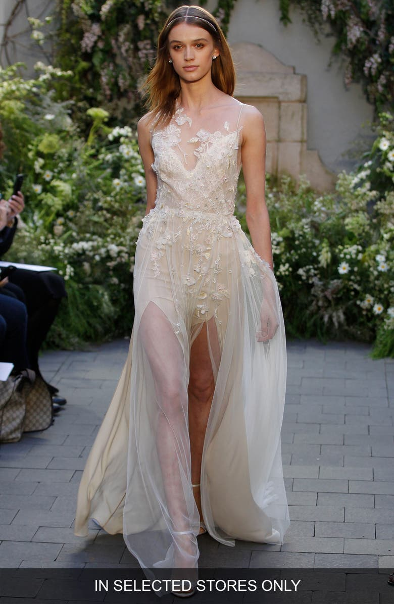 MONIQUE LHUILLIER Garland Embroidered Illusion Gown, Main, color, SORBET/NUDE
