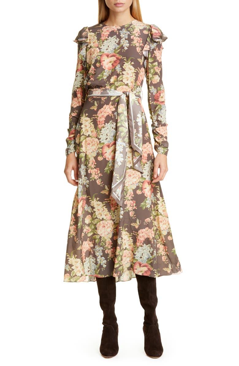 ZIMMERMANN Espionage Floral Long Sleeve Ruched Stretch Silk Midi Dress, Main, color, GARDEN BLOOM