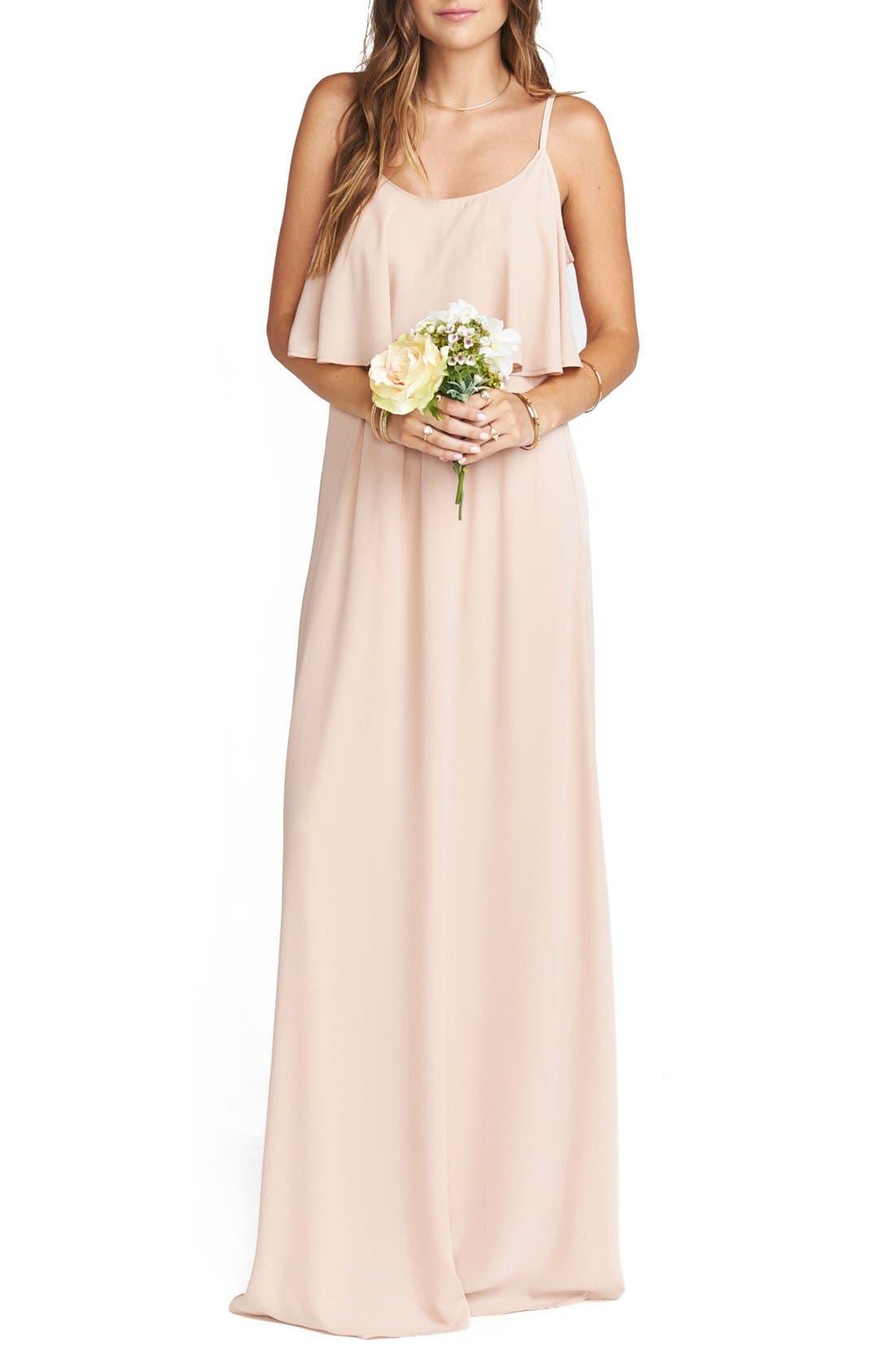 Show Me Your Mumu Caitlin Cold Shoulder Chiffon Gown, Pink