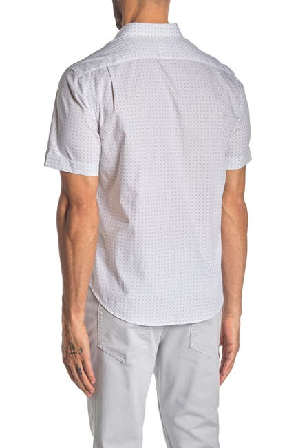 Image of Thomas Dean Geometric Print Short Sleeve Regular Fit Shirt