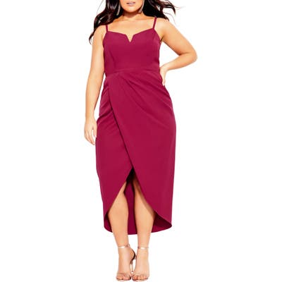 Plus Size City Chic Notch Neck Sleeveless Sheath Dress, Pink