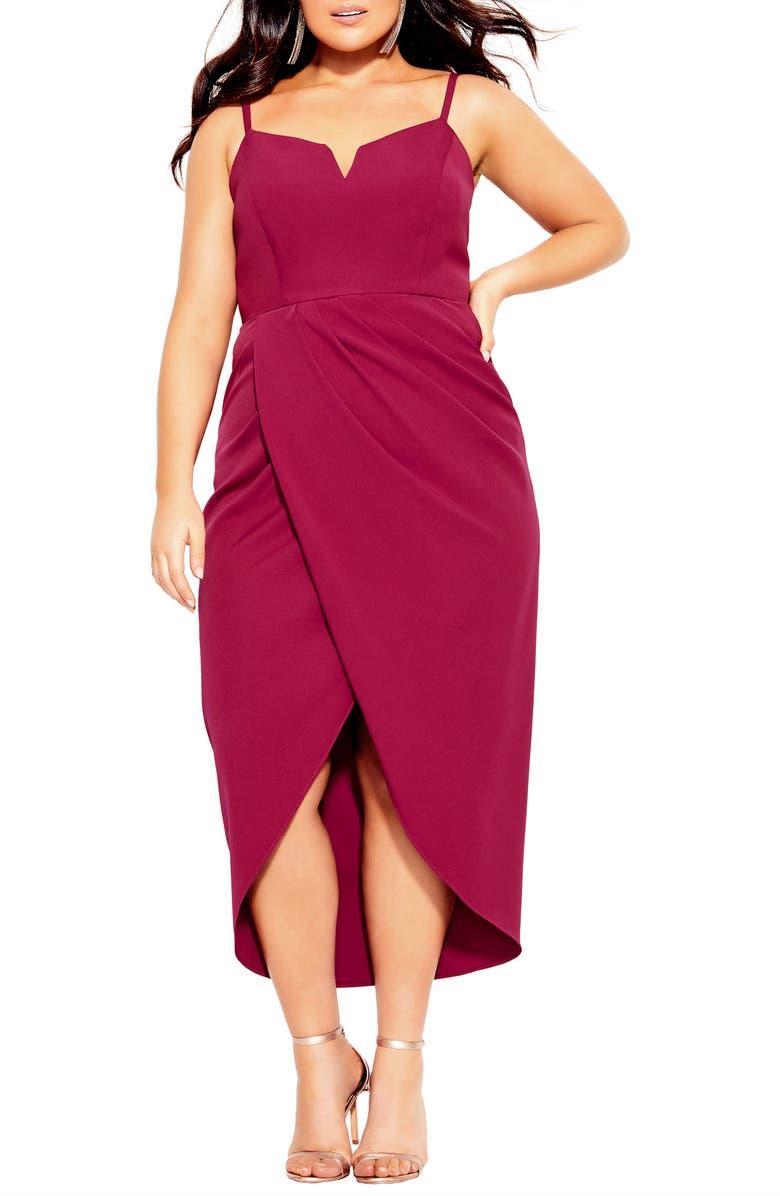CITY CHIC Notch Neck Sleeveless Sheath Dress, Main, color, ROSEBUD