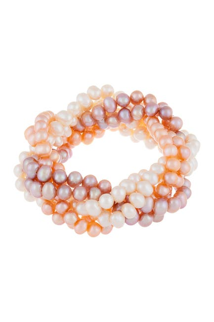 Image of Splendid Pearls 6-Row Braided 6-7mm Freshwater Pearl Bracelet