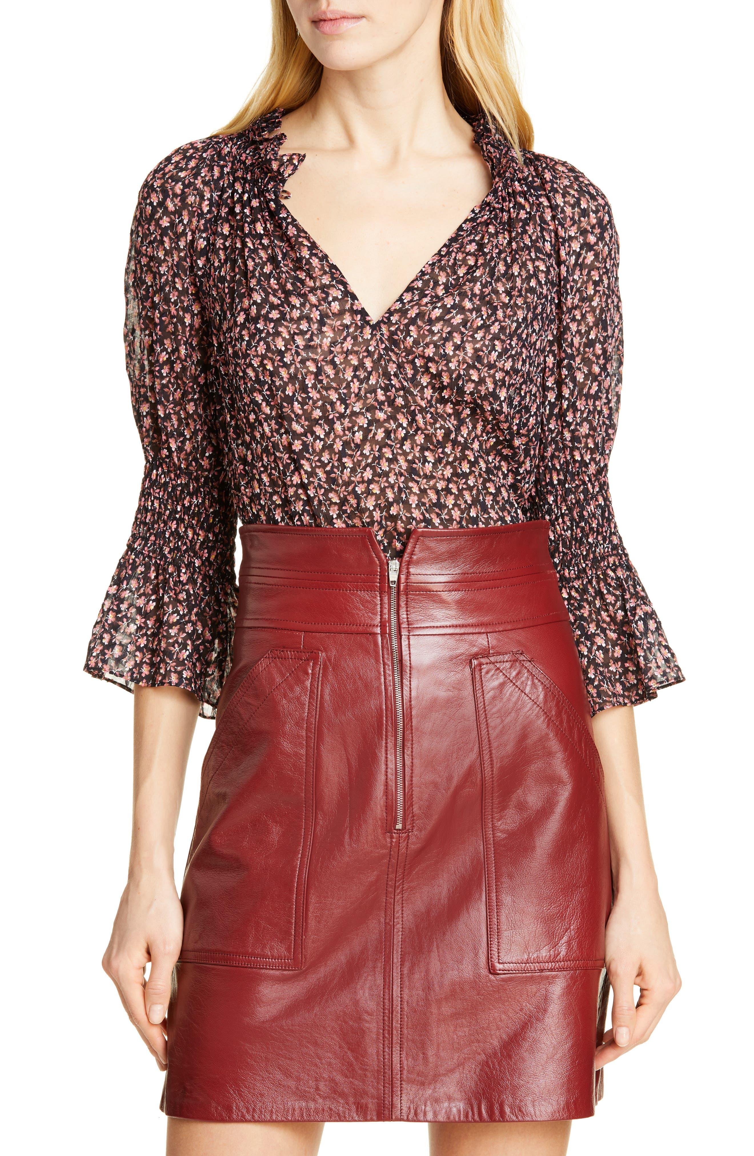Floral Ruffle Detail Silk & Cotton Blouse, Main, color, NAVY COMBO